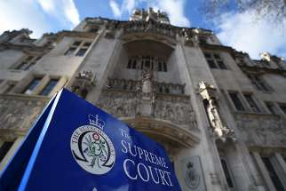 The Supreme Court of the United Kingdom is pictured in 2016 in London. Britain's highest court has ruled that doctors can withdraw food and fluid from patients who are in a vegetative state or minimally conscious without seeking permission from judges.