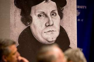 "A portrait of Martin Luther at ""Luther and the Shaping of the Catholic Tradition"" conference held at the Catholic University of America in Washington May 30-June 1. Rev. Theodor Dieter, director of the Institute for Ecumenical Research in Germany, says Luther used two used two medieval traditions to form his position on justification."