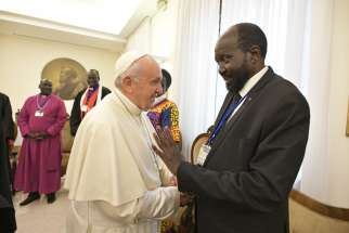 Pope Francis greets South Sudan President Salva Kiir April 11, 2019, at the end of a two-day spiritual retreat the pope hosted in the Domus Sanctae Marthae at the Vatican for the political leaders of South Sudan.