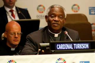 Ghanaian Cardinal Peter Turkson, prefect of the Vatican's Dicastery for Promoting Integral Human Development, speaks during a dialogue on minimizing and addressing ocean acidification June 6 at the U.N. Ocean Conference in New York City. The high-level conference, held June 5-9, coincided with World Oceans Day, observed June 8.