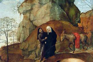 Mary and Joseph on the Way to Bethlehem (1475) by Hugo van der Goes