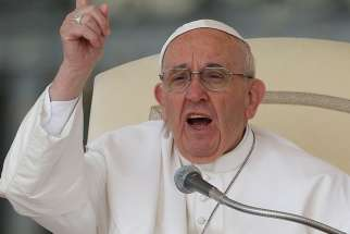 Pope Francis speaks during his general audience in St. Peter's Square at the Vatican April 26.