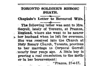 Chaplain's letter to bereaved wife of soldier killed in Vimy Ridge