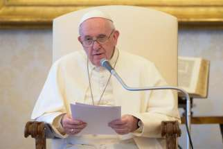 Pope Francis leads his weekly general audience from the papal library in the Apostolic Palace May 6, 2020. The pope was beginning a new series of audience talks about prayer.