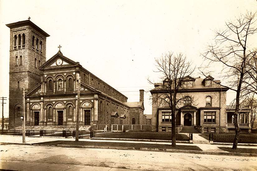 St. Paul's Church and the rectory in 1914. The parish was established in 1822.