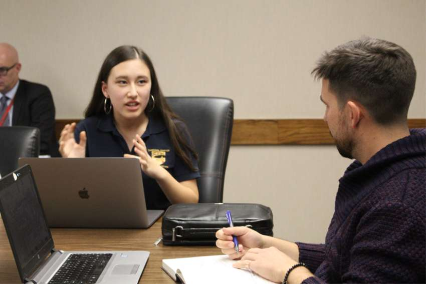 Taylor Dallin, a 2019-2020 TCDSB student trustee discussed the gender issue debate with Kyle Iannuzzi, a former student trustee.