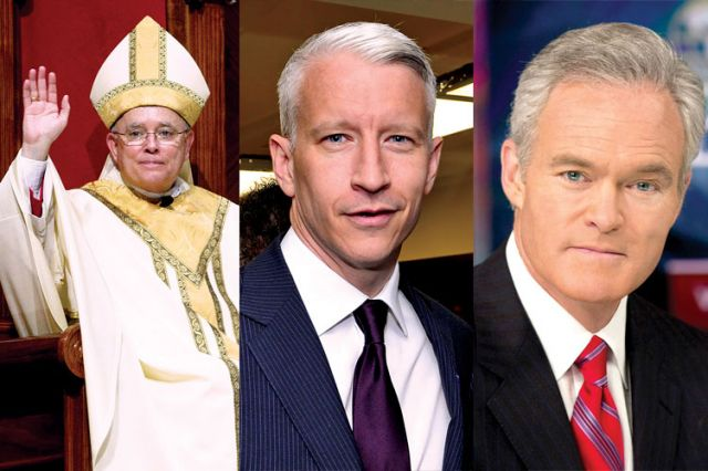 Philadelphia Archbishop Charles Chaput, left, and TV journalists Anderson Cooper, centre, and Scott Pelley are among those commenting on Pope Francis in Salt + Light's The Francis Effect.