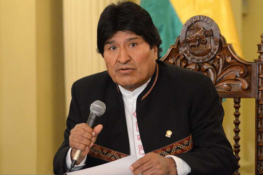 Bolivian President Evo Morales speaks during a May 10 news conference in La Paz. Morales has asked Pope Francis to intervene in the case of nine Bolivians who were imprisoned in neighboring Chile