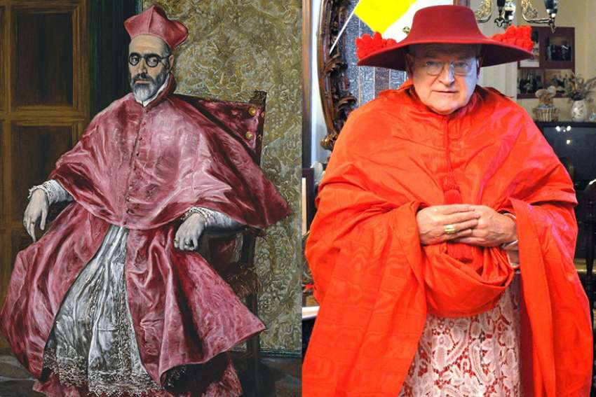 "LEFT: An oil on canvas painting, Cardinal Fernando Niño de Guevara (1541-1609), by El Greco, circa 1600. It is one of the featured art works in an exhibition under the 2018 Met Gala theme ""Heavenly Bodies: Fashion and the Catholic Imagination."" (Photo courtesy Metropolitan Museum of Art) RIGHT: Cardinal Raymond Burke wearing a red galero, inspired by the scarlet hats of the canons of Lyon, a privilege first granted to cardinals by Pope Innocent IV in 1245. The colour of the hat and number of tassels indicate the cleric's place in the hierarchy."