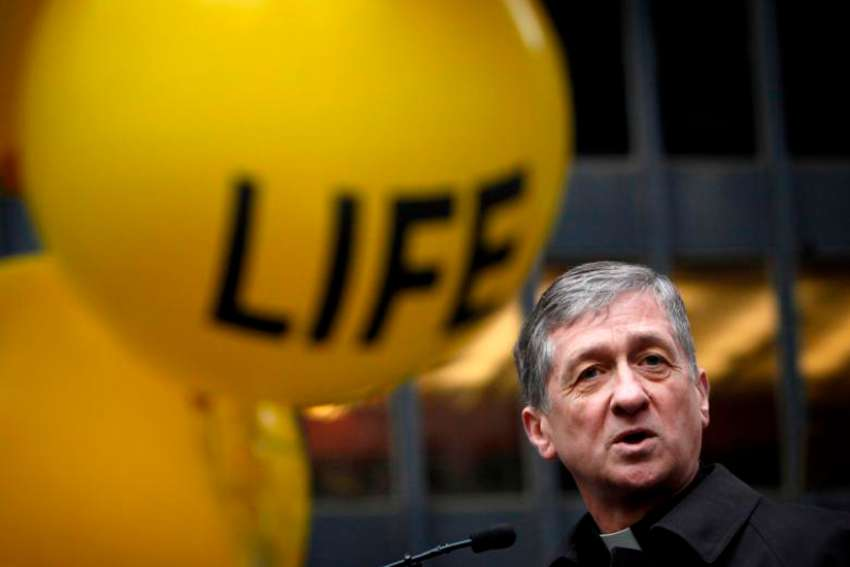 "Chicago Cardinal Blase J. Cupich, pictured in a Jan. 18, 2015, photo, and other Illinois bishops, are urging the state's lawmakers to take no action on a bill that ""dramatically rewrites current abortion law, and goes further than Roe v. Wade."""