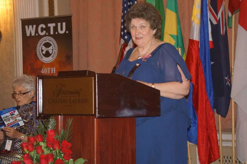 World Women's Christian Temperance Union president Margaret Ostenstad of Norway gave a keynote address Aug. 18.