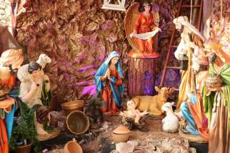 An outdoor manger scene at St. Takla Maronite Catholic Church in Beirut.
