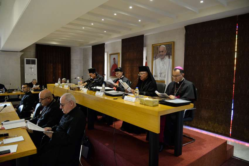 As Lebanon is engulfed in a massive protest movement, the Assembly of Catholic Patriarchs and Bishops of Lebanon gathered for its annual meeting Nov. 11-15, 2019, at Bkerke, the Maronite Catholic patriarchate north of Beirut. The meeting was led by Lebanese Cardinal Bechara Rai, patriarch of the Maronite Catholic Church, second from left, and included other heads of religious orders.