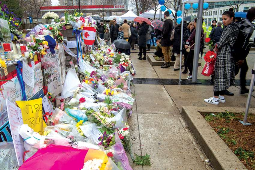 An impromptu memorial was built for victims in the attack.