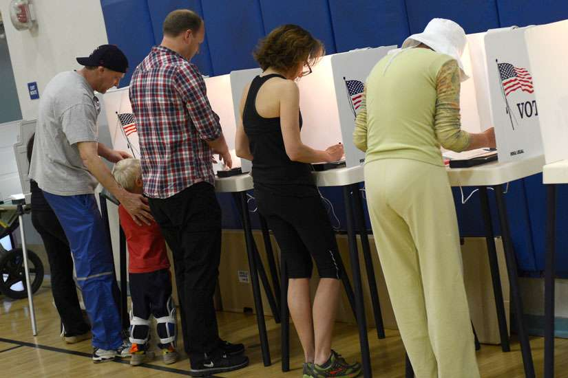 California residents vote in Palisades High School's gymnasium in this 2012 file photo.