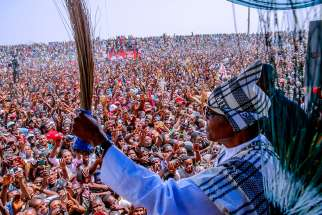 Nigerian President Muhammadu Buhari attends a campaign rally in Taraba Feb. 7, 2019, ahead of the presidential elections. Nigerian bishops are urging voters to reflect, and pray ahead of the country's Feb. 16 elections.