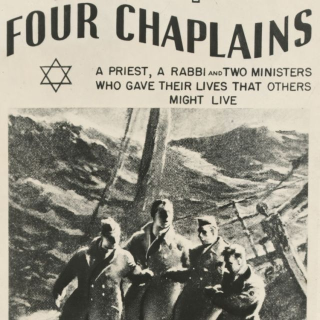 A 1948 print honoring the four chaplains who perished in the 1943 sinking of the USAT Dorchester is shown with an illustration of the tragic day. Father John P. Washington, along with Rabbi Alexander D. Goode, the Rev. George L. Fox, a Methodist minister , and the Rev. Clark V. Poling, a Dutch Reformed minister, all Army lieutenants, gave their life jackets to panicked soldiers scurrying to abandon the transport ship after it had been torpedoed by a German U-boat during World War II.