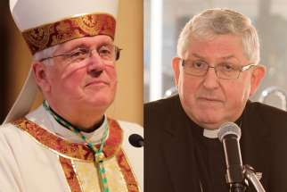 Bishop Douglas Crosby of Hamilton, left, and Cardinal Thomas Collins of Toronto both wrote open letters to Justin Trudeau condemning his $650 million commitment to abortion and other services in developing countries.