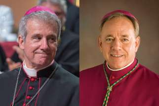 Archbishop Lépine (left) and Archbishop Miller (right)