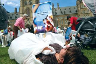 "Opponents of assisted suicide staged a ""die-in"" following a rally on Parliament Hill in 2016 prior to Bill C-41 passing that legalized euthanasia in Canada. A new bill creates an opening for those who want an assisted suicide but whose death is  not ""reasonably foreseeable."""