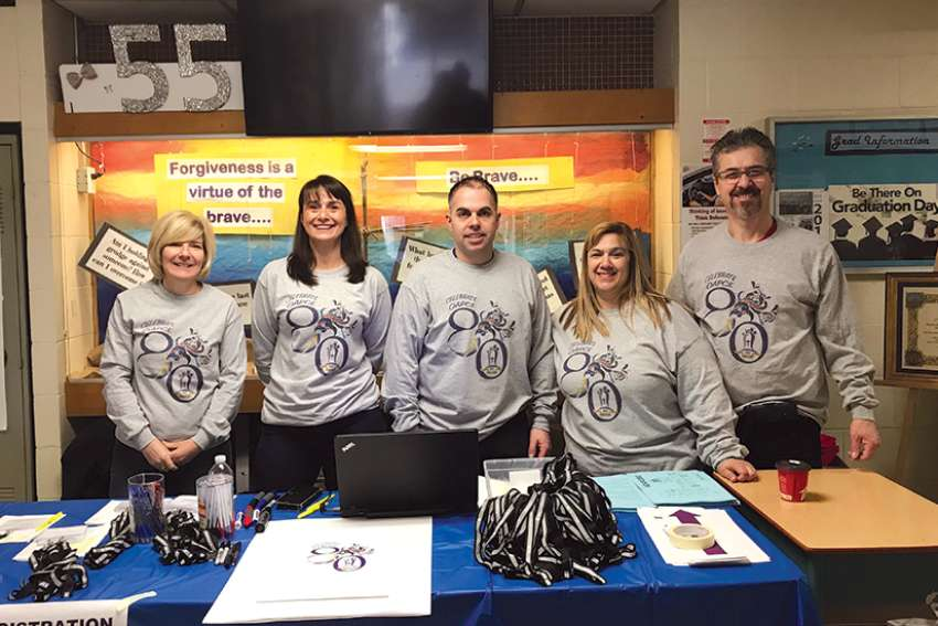 Annalisa Crudo-Perri, second from right, is president of OAPCE, the Ontario Association of Parents in Catholic Education, and is seen here with other members at its recent annual conference.