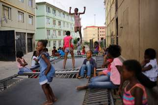 Children jump on a trampolines in 2016 in Johannesburg. Most of Christianity's future growth is likely to be in the global South, particularly in sub-Saharan Africa, where the Christian population is relatively young, according to a new Pew Research Center analysis.