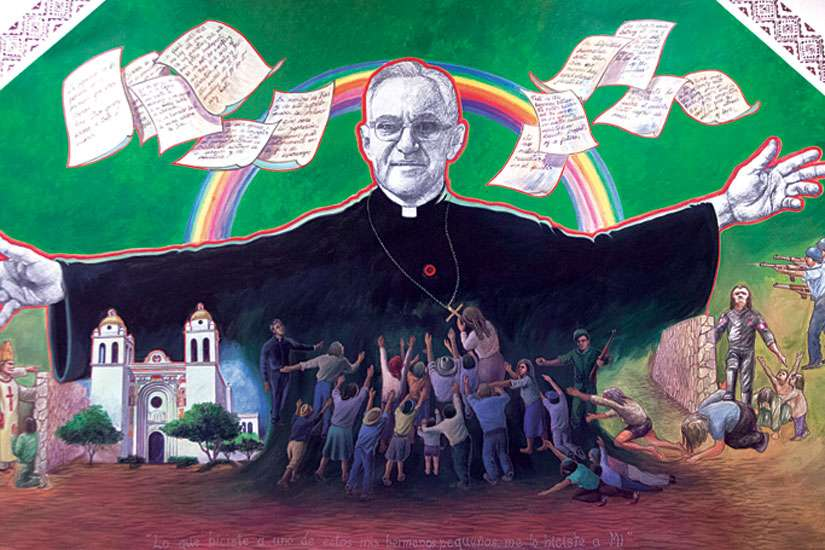 A mural of Salvadoran Archbishop Oscar Romero is seen in 2012 at the Columban Mission Centre in El Paso, Texas. Archbishop Romero, who will be beatified in San Salvador May 23, has become a symbol of Latin American Church leaders' efforts to protect their flocks from the abuses of military dictatorships.