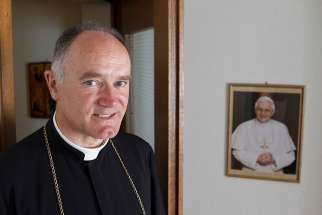 Bishop Bernard Fellay, superior of the Society of St. Pius X, is pictured in 2012 at the society's headquarters in Menzingen, Switzerland.