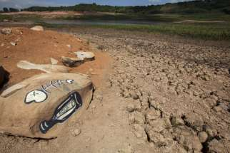 A View of the Jaguari dam in Brazil shows low water levels in early January. The drought in the region is the worst in 80 years, according to reports, as only a third of the usual rainfall occurred during the wet season from December to February.