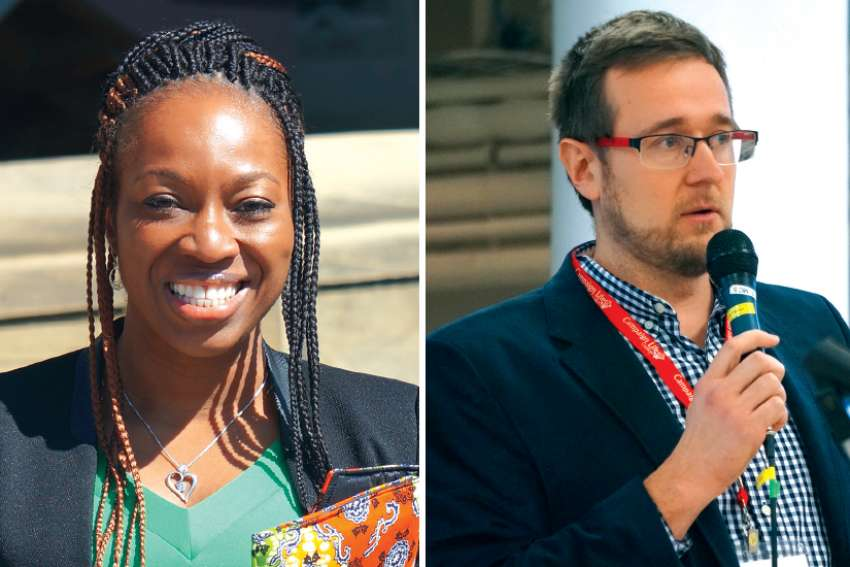 Obianuju Ekeocha, founder and president of Culture of Life Africa, in Ottawa in 2016, left, and Matthew Wojciechowski, project manager and UN expert at Campaign Life Coalition.