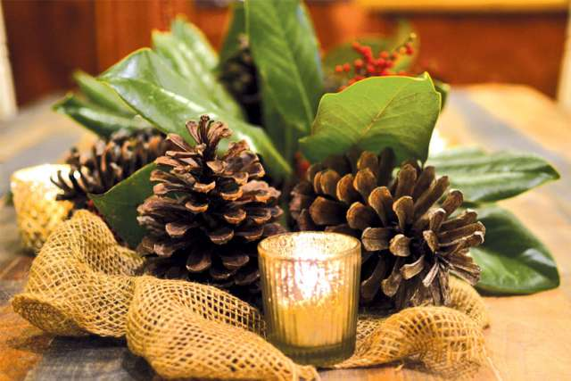 Use pine cones to decorate for a green Christmas.