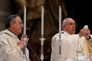 Cardinal Oscar Rodriguez Maradiaga, left, coordinator of the Council of Cardinals, publicly expressed his support for Pope Francis who has met with a handful of challenges to his authority in recent months.
