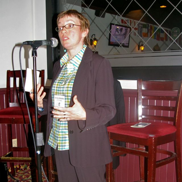 Lorraine McCallum spoke at the deVeber Institute for Bioethics and Social Research's Café Scientifique.