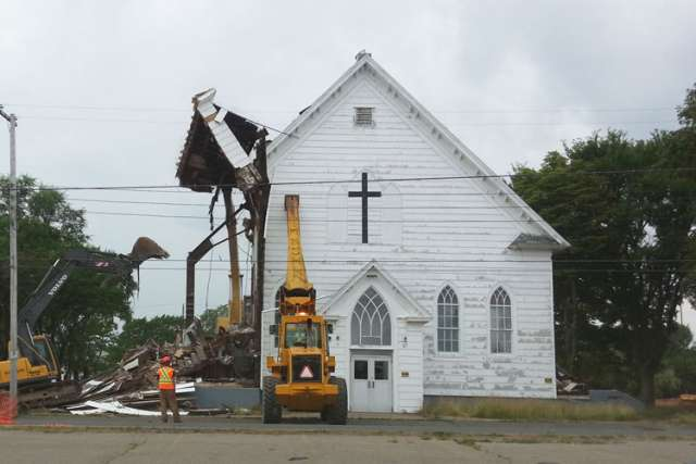 Demolition beings on St. Agnes Catholic Church in New Waterford Nova Scotia.