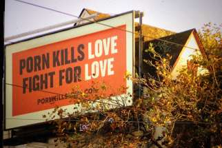 "A ""porn kills love"" bill board seen in San Francisco in 2015. The anti-porn group Fight the New Drug has been pushing a social media campaign to show the harmful effects of pornography through scientific research."