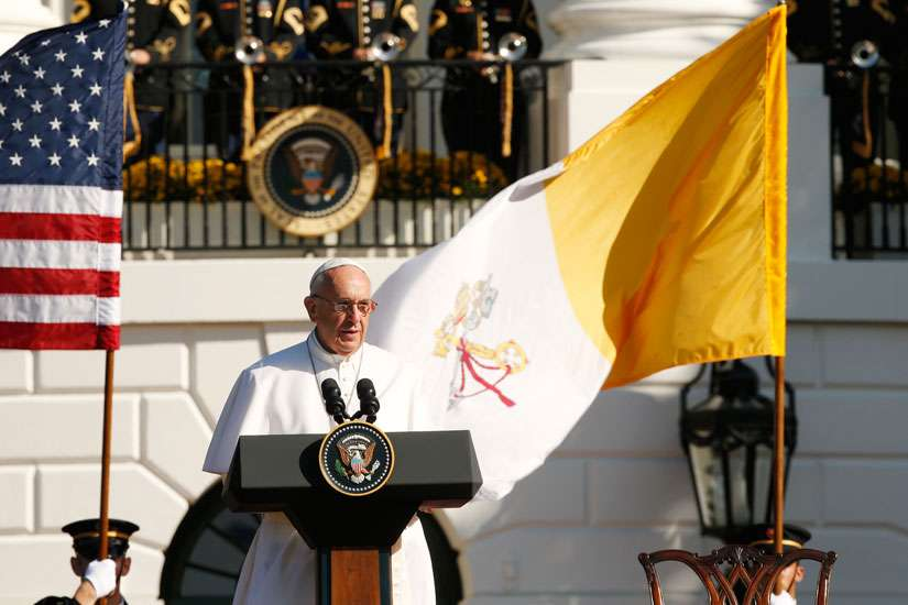 Pope Francis speaks during a ceremony with U.S. President Barack Obama on the South Lawn of the White House in Washington Sept. 23.