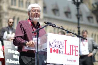 Campaign Life Coalition President Jim Hughes is pictured in a 2015 photo speaking at the March for Life rally in Ottawa, Ontario.