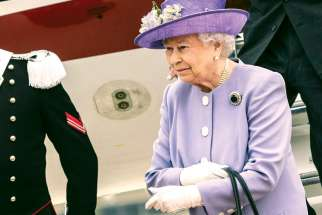 Queen Elizabeth II arrives at Ciampino airport in Rome April 3, 2014. The Queen marked 65 years upon the throne Feb. 6.