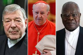 The cardinals ending their service after five years as members are Australian Cardinal George Pell, 77; Cardinal Francisco Javier Errazuriz Ossa, 85, retired archbishop of Santiago, Chile; and Cardinal Laurent Monsengwo Pasinya of Kinshasa, Congo, 79.