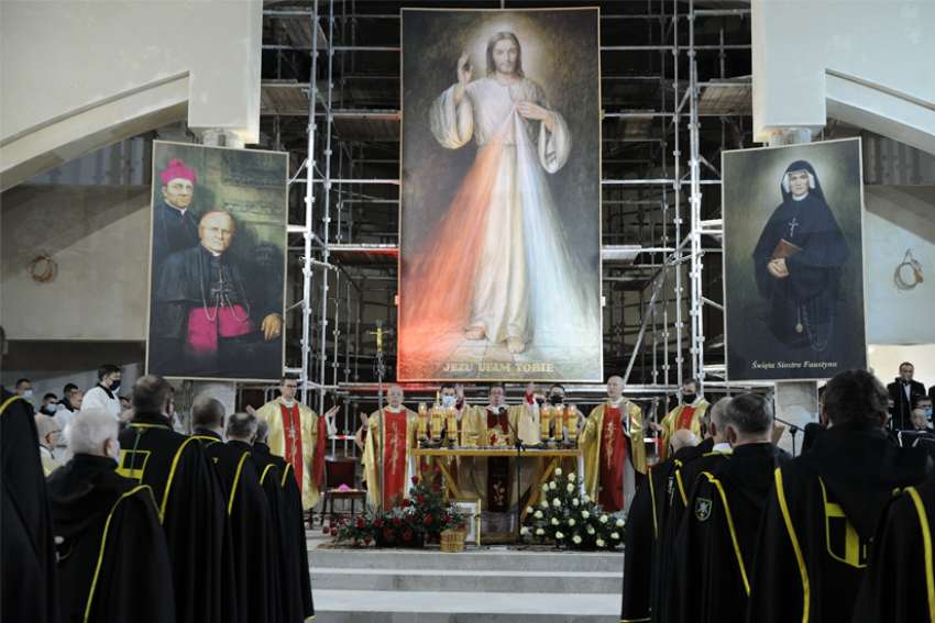 Archbishop Jan Pawlowski, an official at the Vatican Secretariat of State and papal delegate, celebrates Mass at the Divine Mercy Shrine in Plock, Poland, Feb. 22, 2021. The Mass marked the 90th anniversary of the first apparition of Jesus to St. Faustina Kowalska.
