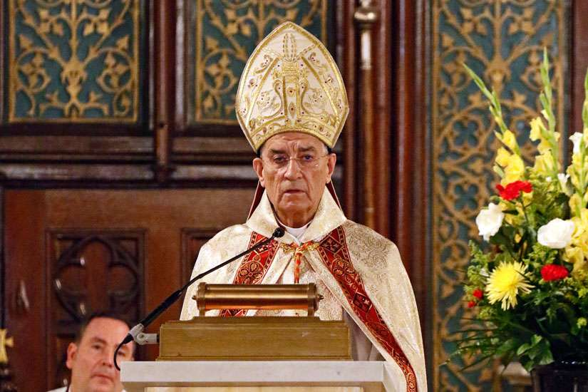 Lebanese Cardinal Bechara Rai, patriarch of the Maronite Catholic Church, delivers his homily during the Divine Liturgy June 26 at Our Lady of Lebanon Maronite Cathedral in Brooklyn, N.Y. Cardinal Rai arrived in the U.S. June 22 to begin a pastoral visit that concludes July 10.