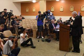 Bishop David A. Zubik of Pittsburgh addresses the media Aug. 14 at the pastoral center in Pittsburgh. The Pennsylvania attorney general released a grand jury report that day on a months-long investigation into abuse claims spanning a 70-year period in the Diocese of Pittsburgh and five other Pennsylvania dioceses.