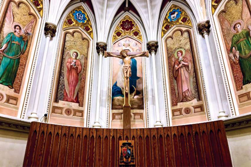 A series of murals behind the altar of St. Mary's Cathedral Basilica painted over in the 1950s were restored to their former glory for the Halifax landmark's 200th anniversary.