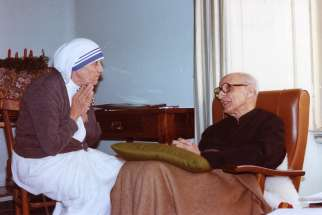 St. Teresa of Kolkata is pictured in 1982 with Jesuit Father Pedro Arrupe in Rome. The sainthood cause for Father Arrupe was formally opened in Rome at the Basilica of St. John Lateran Feb. 5, 2019, the 28th anniversary of his death. He was superior general of the Jesuits from 1965 to 1983.
