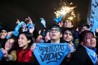 Pro-life advocates celebrate in Buenos Aires, Argentina, Aug. 9 after lawmakers voted against a bill that would have legalized abortion. The Senate voted against the bill, dashing the hopes of supporters of legal abortion in the predominantly Catholic country, homeland of Pope Francis.