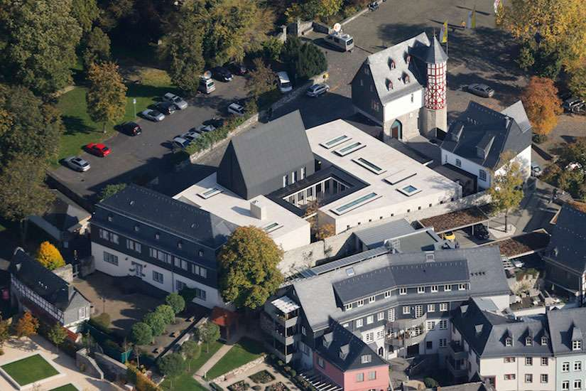 An aerial view shows the ensemble of the bishop's residence in Limburg, Germany. Catholic Bishop Franz-Peter Tebartz-van Elst ordered the luxury residence and office.