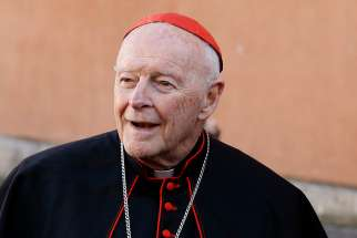 Cardinal Theodore E. McCarrick, retired archbishop of Washington, is pictured during a reception for new cardinals at the Vatican Feb. 22, 2014.