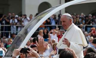 Pope Francis arrives to lead a gathering with young people in Piazza Vittorio in Turin, Italy, June 21.