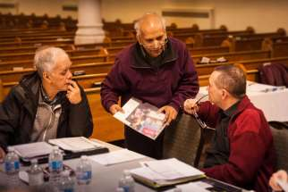 Parishioners from Orillia, Ont.'s Guardian Angels parish attend a fundraising meeting on March 4.