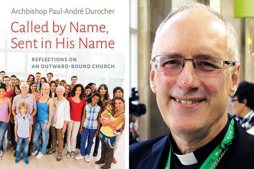 Archbishop Paul-Andre Durocher and his new book.